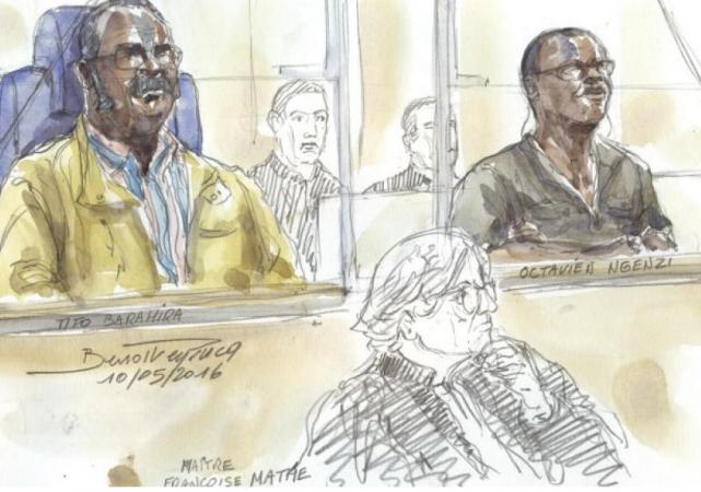 Dessin d'illustration, procès de Tito Baharira (à gauche) et Octavien Ngenzi (à droite)