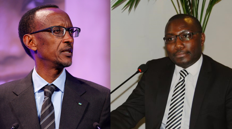 President Paul Kagame (left) FatherThomas Nahimana (right), leader of Ishema ry'u Rwanda party