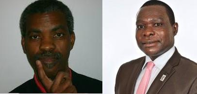 """François Munyabagisha, umwanditsi w'ibitabo (ibumoso), Me Innocent Twagiramungu, """"avocat"""" mu rugaga rw'ababuranira abantu i Buruseli, ni we washinze """"forum"""" DHR (iburyo)"""