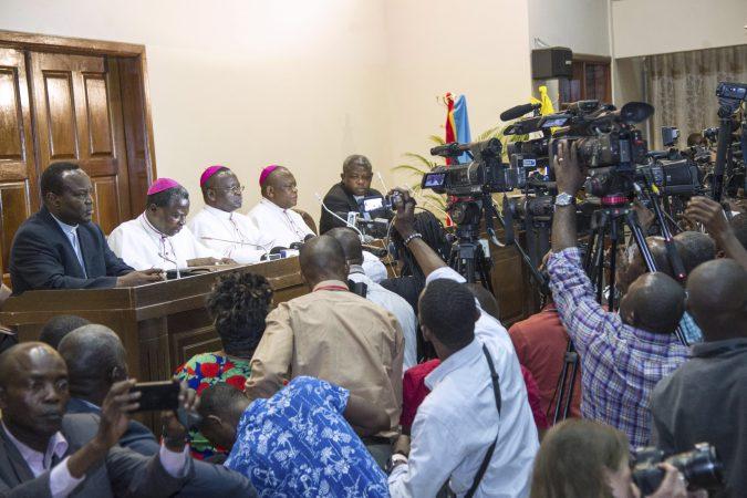 Les évêques de la RDC lors d'une conférence de presse