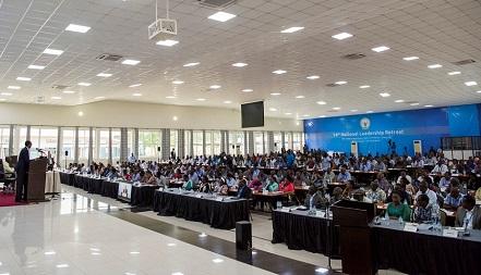 Abitabiriye umwiherero wa 14 bateze amatwi ijambo rya Paul Kagame. Ifoto (c) Igihe